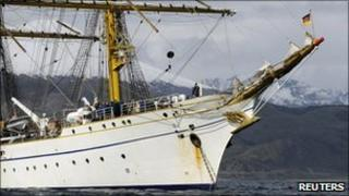 German navy training sailing ship Gorch Fock is seen offshore in the inlet near the port of Ushuaia in Argentina January 20, 2011