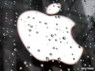 Apple logo in the rain, Reuters