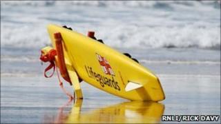 RNLI Beach lifeguard rescue equipment