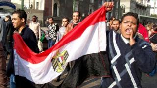 Protesters march through Tahrir Square. Photo: John Andrew Wein. January 25
