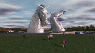 Computer-generated image of the horse head sculptures (courtesy of the Helix Trust)