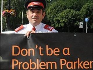 Parking warden in Cardiff