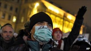 Protest against media law in Budapest, 27 Jan 11