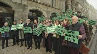Protest outside the Guildhall on 8 February against the plans to build 2,000 homes at Barton Farm