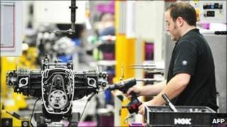A worker in BMW factory in Berlin