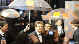 Colin Firth arrives to attend BAFTA award ceremony at the Royal Opera House in London