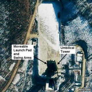 A satellite photo courtesy of GeoEye shows the Tongchang-dong Missile and Space Launch Facility in North Korea on 10 January 2011