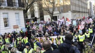 London demonstration against fees