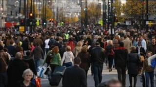 General view of crowds in London's Oxford Street