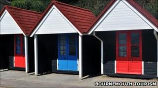 Traditional-style beach huts in Bournemouth