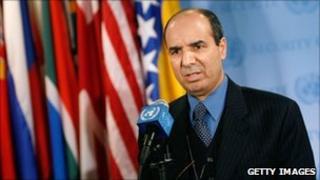 Ibrahim Dabbashi, the Libyan Deputy Ambassador to the UN, outside the Security Council
