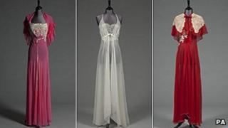 A pink chiffon nightdress and matching capelet, an ivory chiffon nightdress and a scarlet chiffon nightdress with capelet and full length cape.
