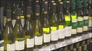Wine on supermarket shelf