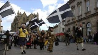Flying the St Piran's flag in Truro