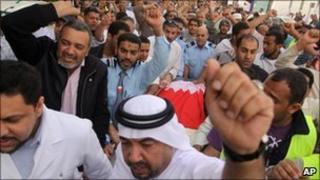 Anti-government protesters in Manama, Bahrain