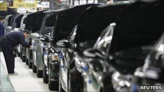 Employees work at a plant of Hyundai Motor in South Korea