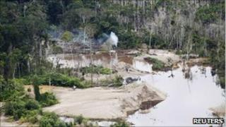 Area deforested by illegal gold mining 19 February, 2011
