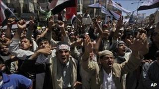 Protesters in Sanaa, Yemen (8 March 2011)