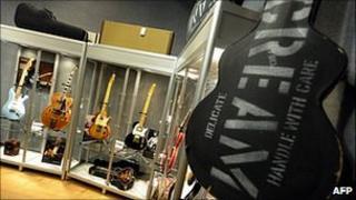Guitars on display at Bonham's in New York
