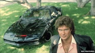 David Hasselhoff in the 1980s TV series Knight Rider, with his talking car