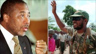Left: Charles Taylor in 1999 Right: Charles Taylor when leader of the rebel National Patriotic Front of Liberia (NPFL) in 1990