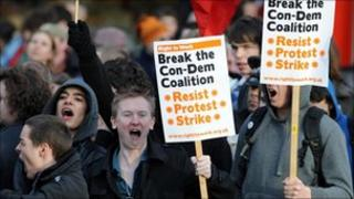 Protesters at Lib Dem conference