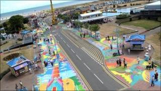 Pavement art at the 2010 SO Festival in Skegness