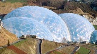 An early picture of Eden's biomes just after the attraction opened
