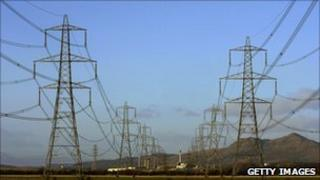 A row of large electricity pylons in Scotland