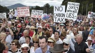 Anti carbon tax protesters outside Parliament House, Canberra, Australia, Wednesday, March 23, 2011