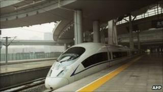 February 21, 2011 a high-speed train departs a railway station in Beijing
