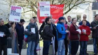 UCU members picket Bangor University, Gwynedd