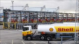 Shell tankers inside Stanlow refinery