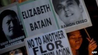 A vigil is held in in Quezon City, east of Manila, on 24 March for the three Filipinos facing death in China