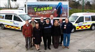 The Don't be a Tosser campaign 4 launch, with two fast response vehicles