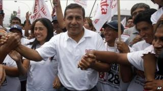 Peruvian presidential candidate Ollanta Humala with supporters