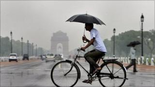 Man on a bike in New Delhi
