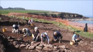 Digging at St Bride's Bay