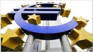 Picture of a giant sign of a Euro in front of the European Central Bank building
