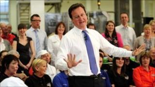 Prime Minister David Cameron speaking in Harrogate