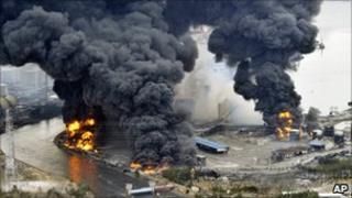 Buildings burning in Sendai