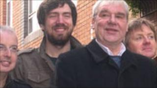 Terri Hooley (third from left) with members of The Undertones and Snow Patrol's Gary Lightbody