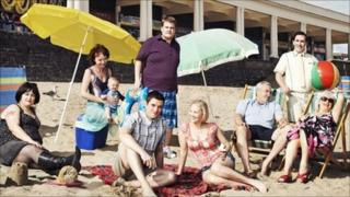 The cast of BBC comedy Gavin and Stacey on the beach at Barry Island