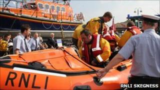 Lifeboat being launched at Skegness
