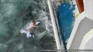 Janet Richardson in water