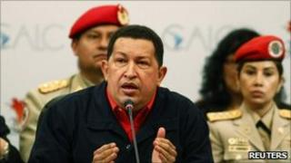 Hugo Chavez speaks during the Latin America and Caribbean Foreign Ministers summit