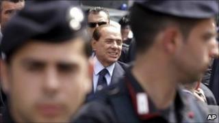 Silvio Berlusconi arrives outside court in Milan 2/5/11
