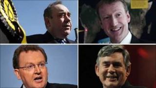Alex Salmond, Tavish Scott, David Mundell and Gordon Brown