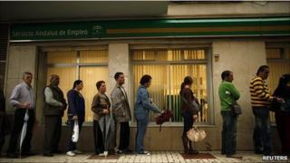 Queue at a job centre in Malaga, Spain