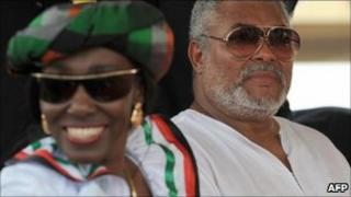 Nana Konadu Rawlings (L) and Ghana's former President Jerry Rawlings (R) in January 2009